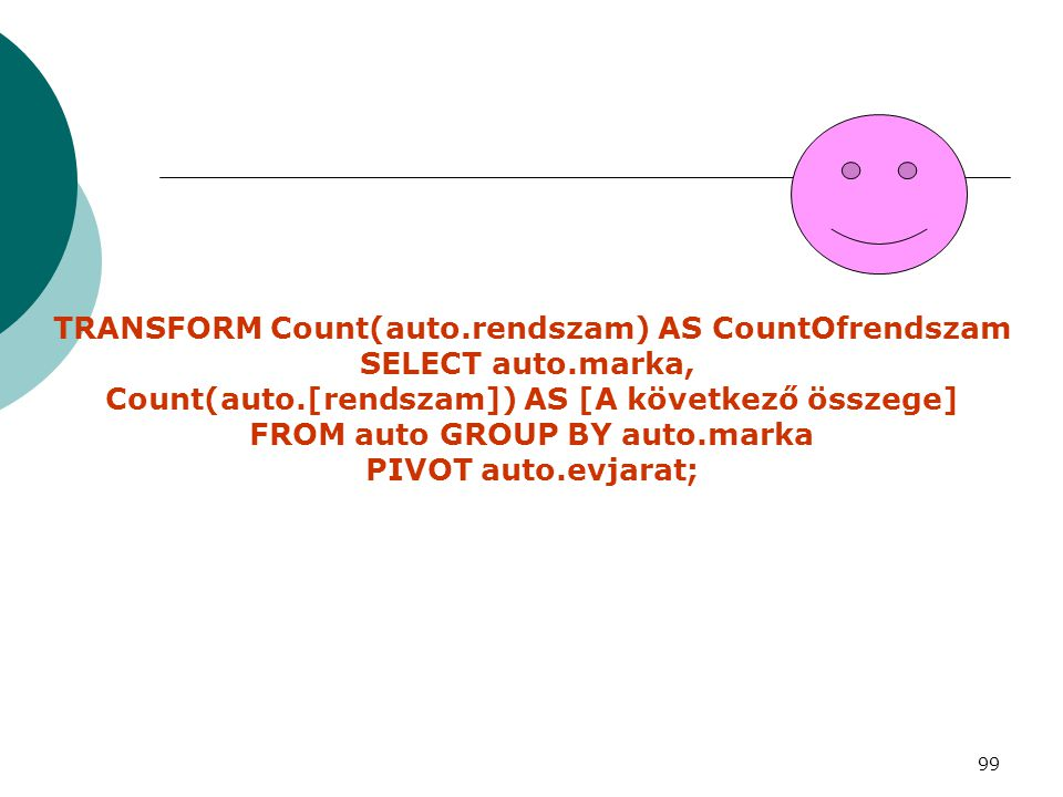TRANSFORM Count(auto.rendszam) AS CountOfrendszam