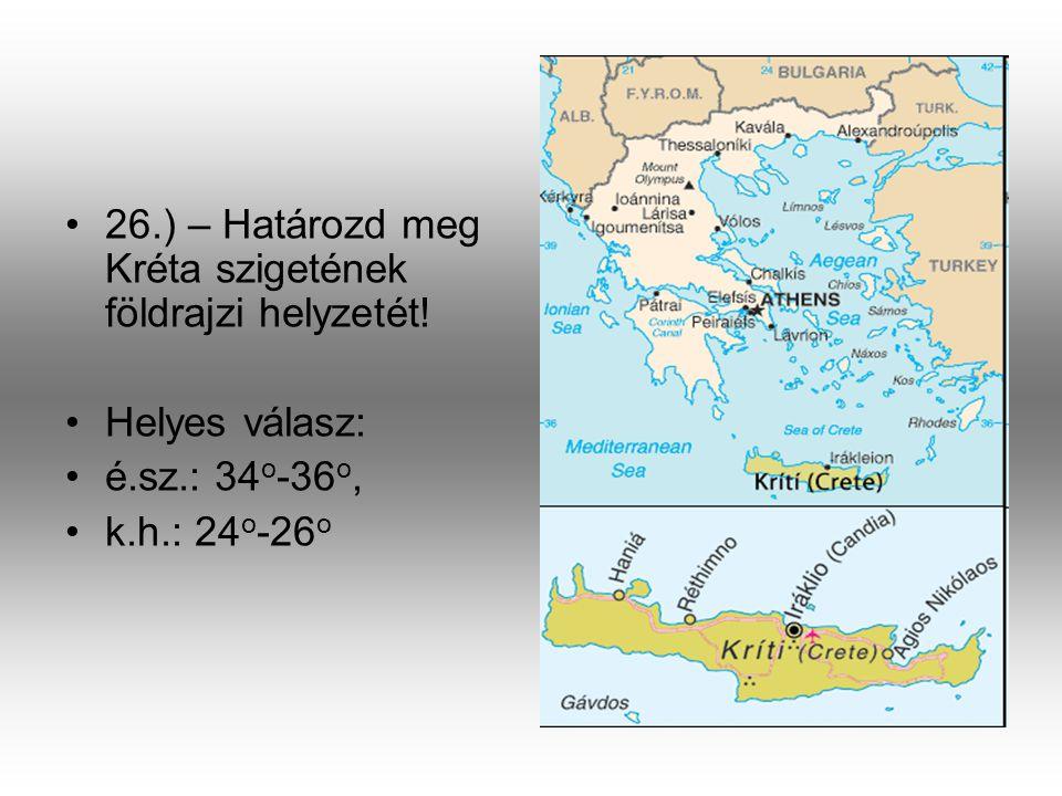 26.) – Határozd meg Kréta szigetének földrajzi helyzetét!