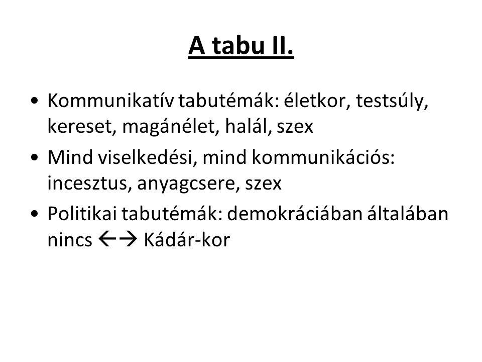 A tabu II. Kommunikatív tabutémák: életkor, testsúly, kereset, magánélet, halál, szex.