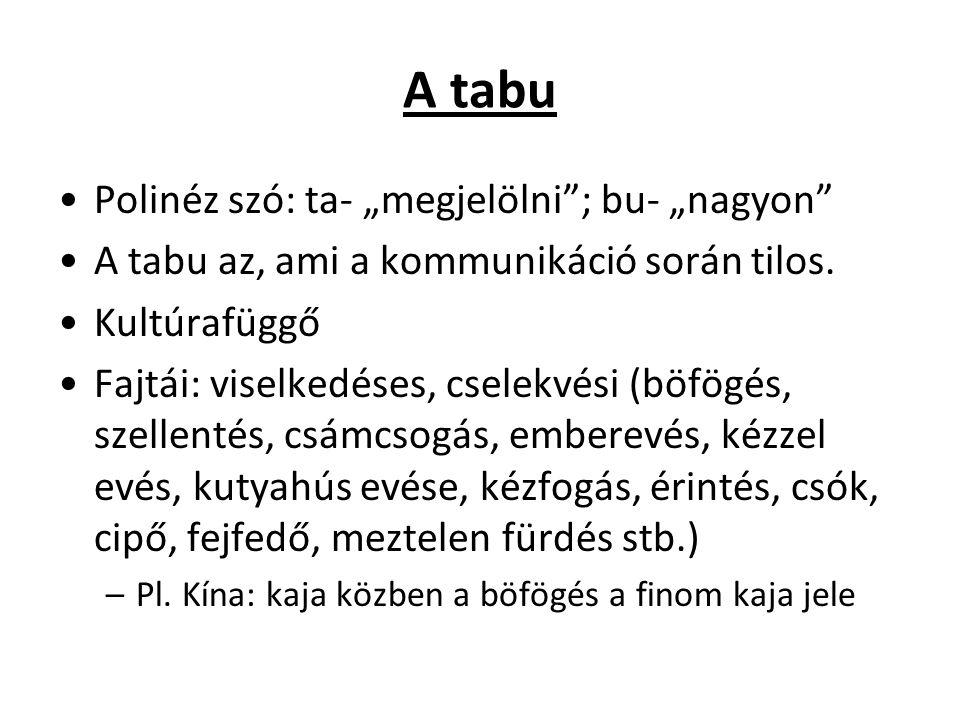 """A tabu Polinéz szó: ta- """"megjelölni ; bu- """"nagyon"""