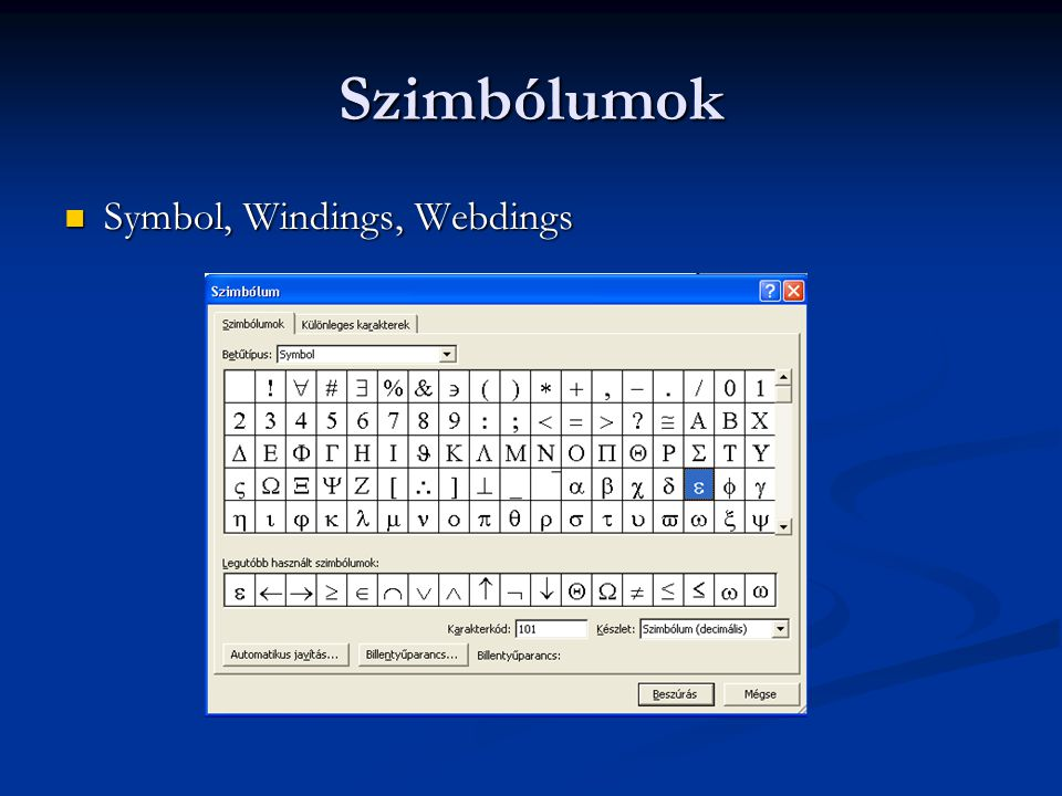 Szimbólumok Symbol, Windings, Webdings