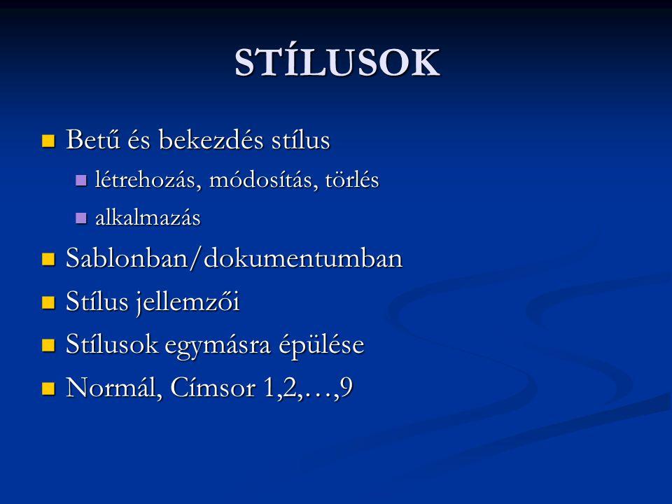 STÍLUSOK Betű és bekezdés stílus Sablonban/dokumentumban