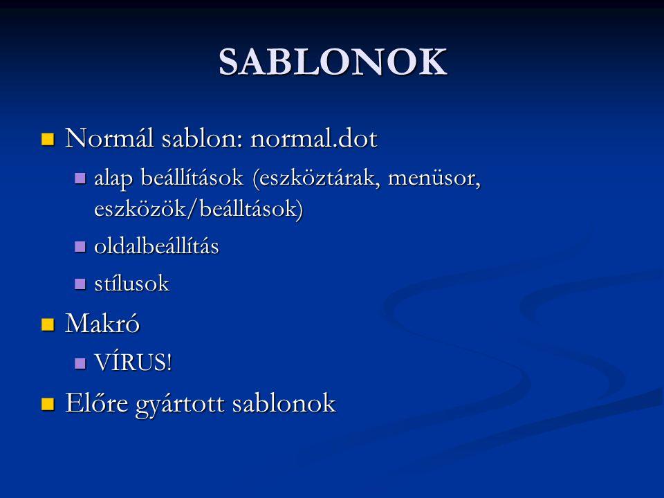 SABLONOK Normál sablon: normal.dot Makró Előre gyártott sablonok