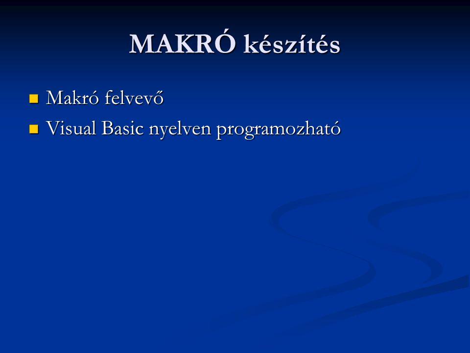 MAKRÓ készítés Makró felvevő Visual Basic nyelven programozható