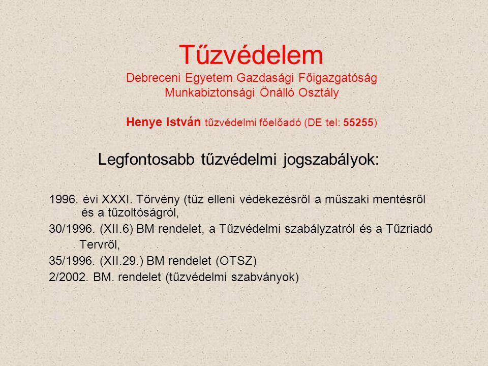 Tűzvédelem Debreceni Egyetem Gazdasági Főigazgatóság Munkabiztonsági Önálló Osztály Henye István tűzvédelmi főelőadó (DE tel: 55255)