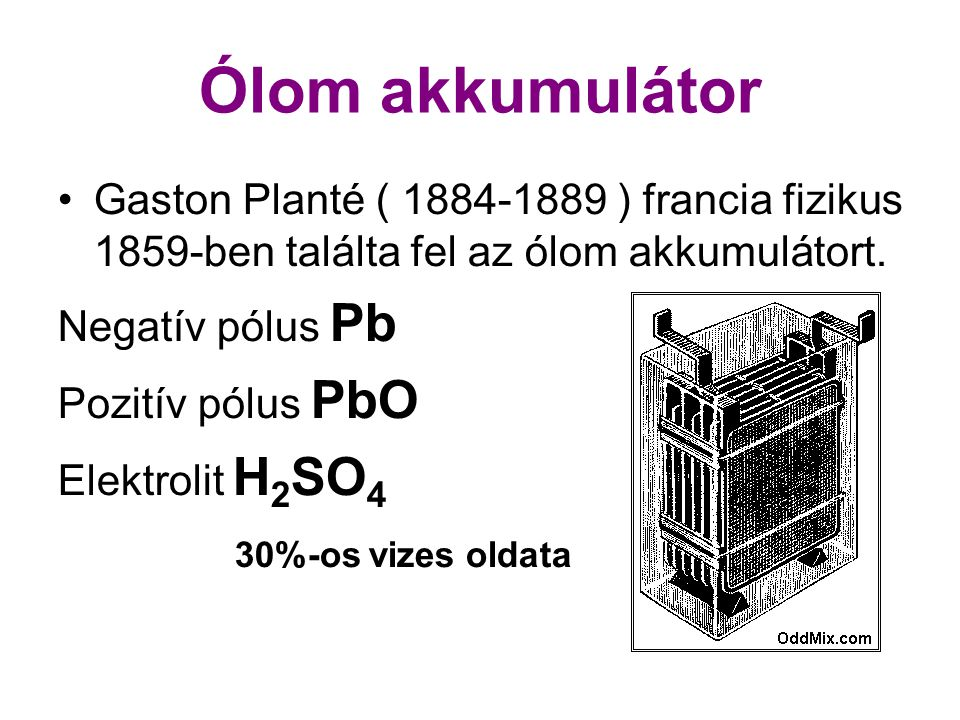 Ólom akkumulátor 30%-os vizes oldata