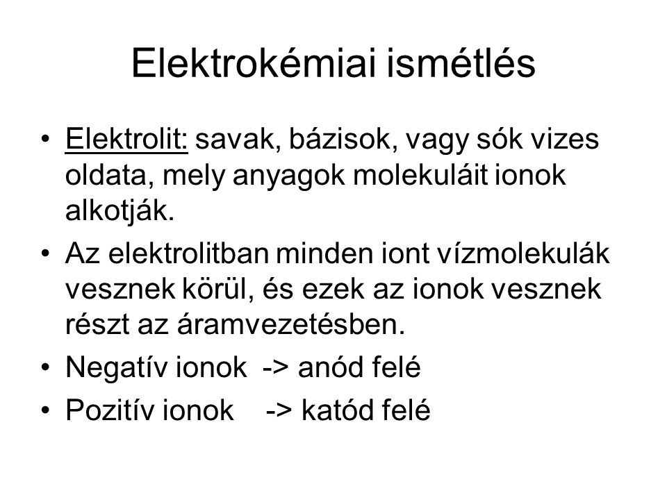 Elektrokémiai ismétlés