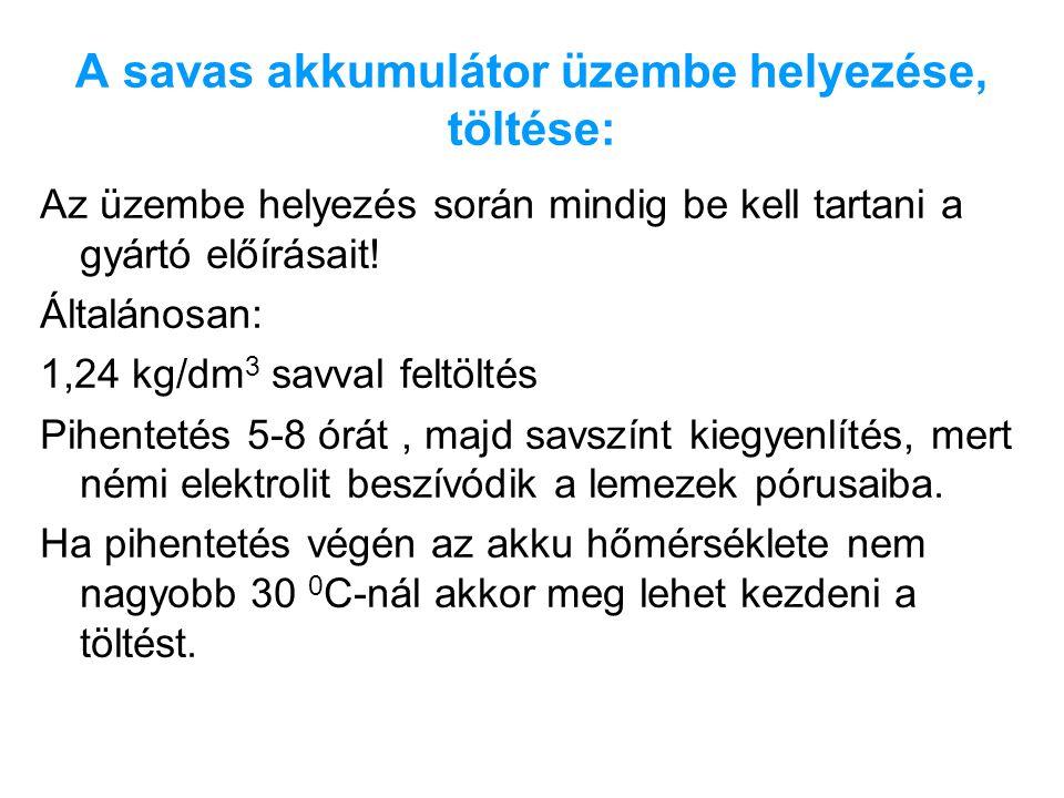 A savas akkumulátor üzembe helyezése, töltése: