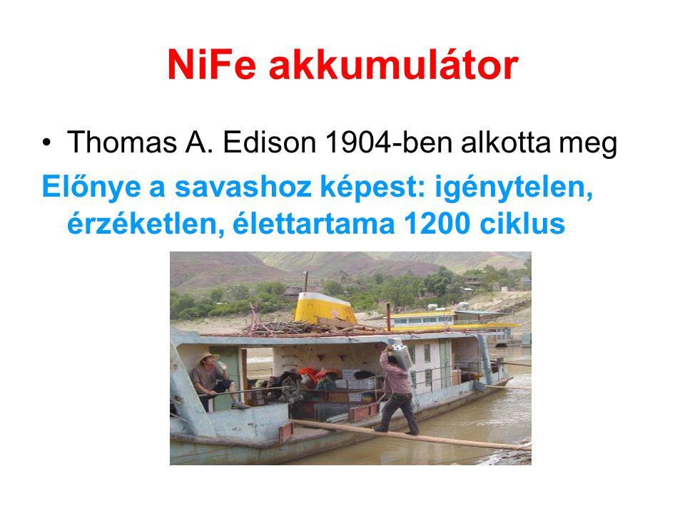 NiFe akkumulátor Thomas A. Edison 1904-ben alkotta meg