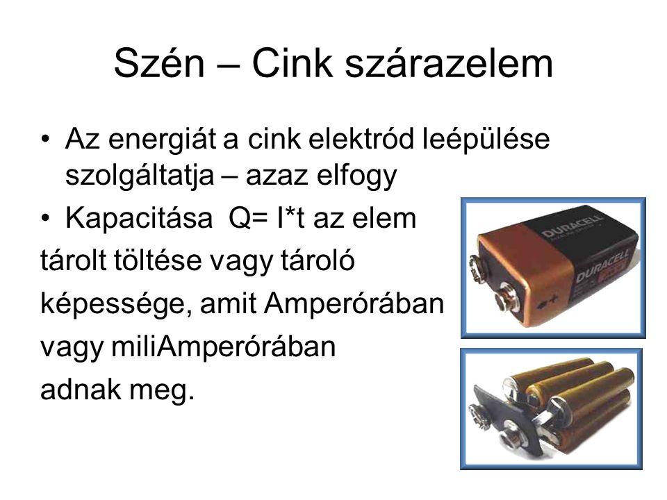 Szén – Cink szárazelem Az energiát a cink elektród leépülése szolgáltatja – azaz elfogy. Kapacitása Q= I*t az elem.