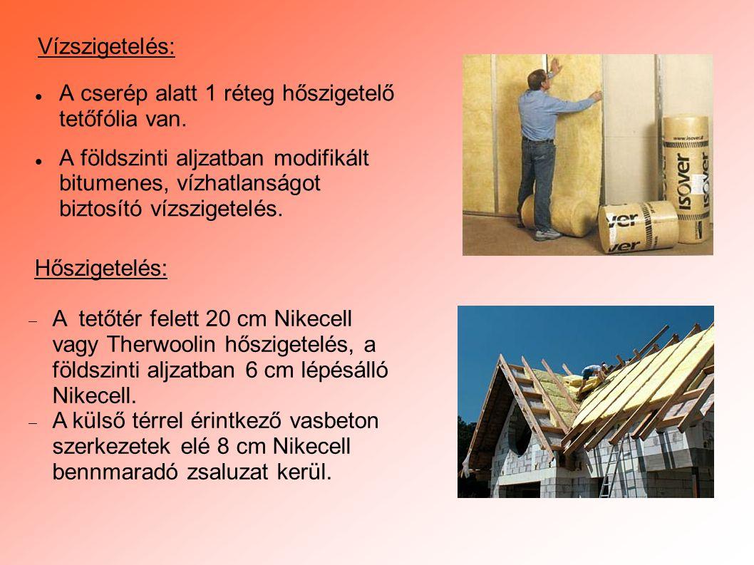 Vízszigetelés: A cserép alatt 1 réteg hőszigetelő tetőfólia van.
