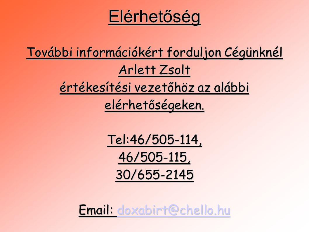 Elérhetőség További információkért forduljon Cégünknél Arlett Zsolt
