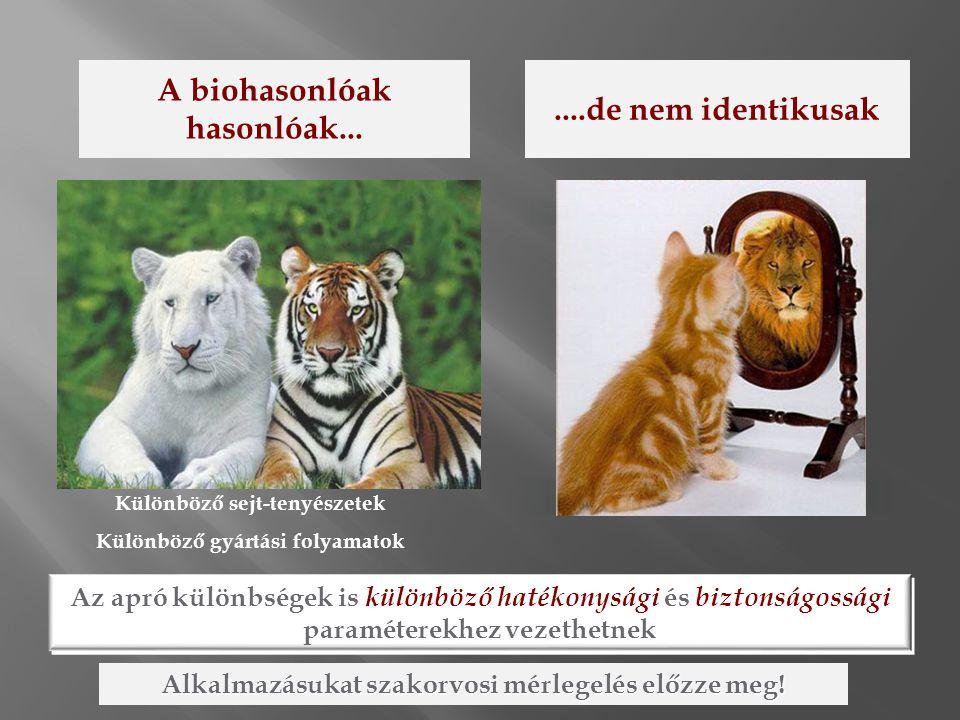 A biohasonlóak hasonlóak... ....de nem identikusak