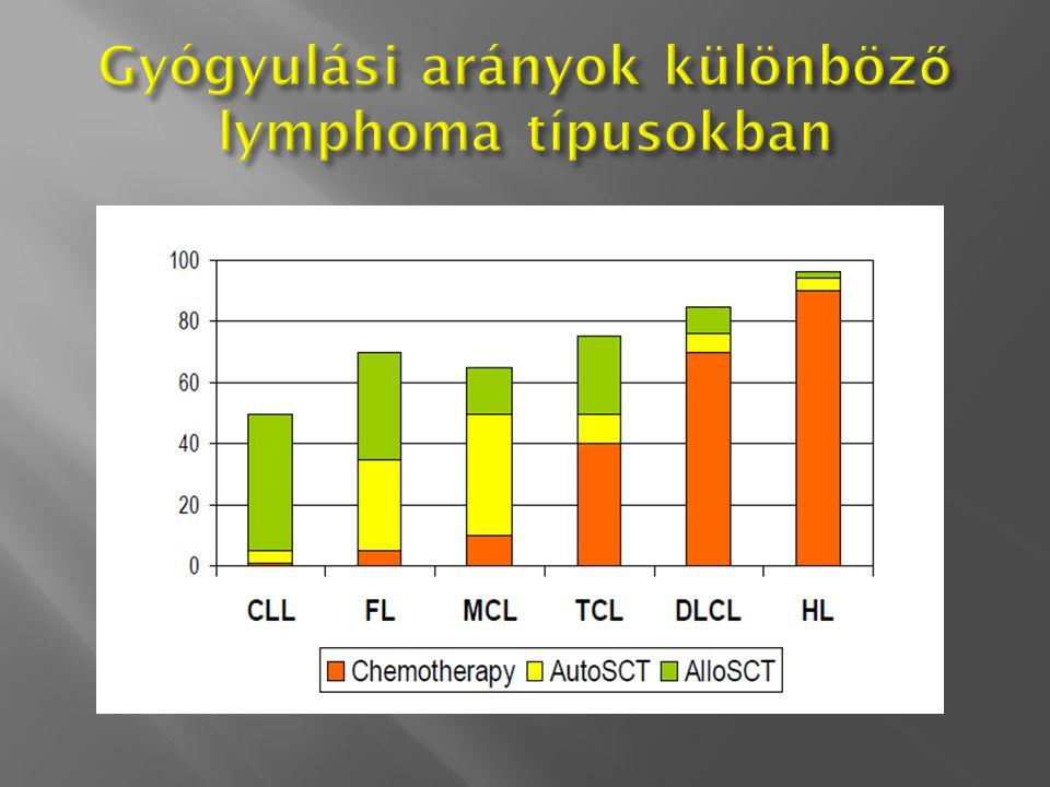 Gyógyulási arányok különböző lymphoma típusokban