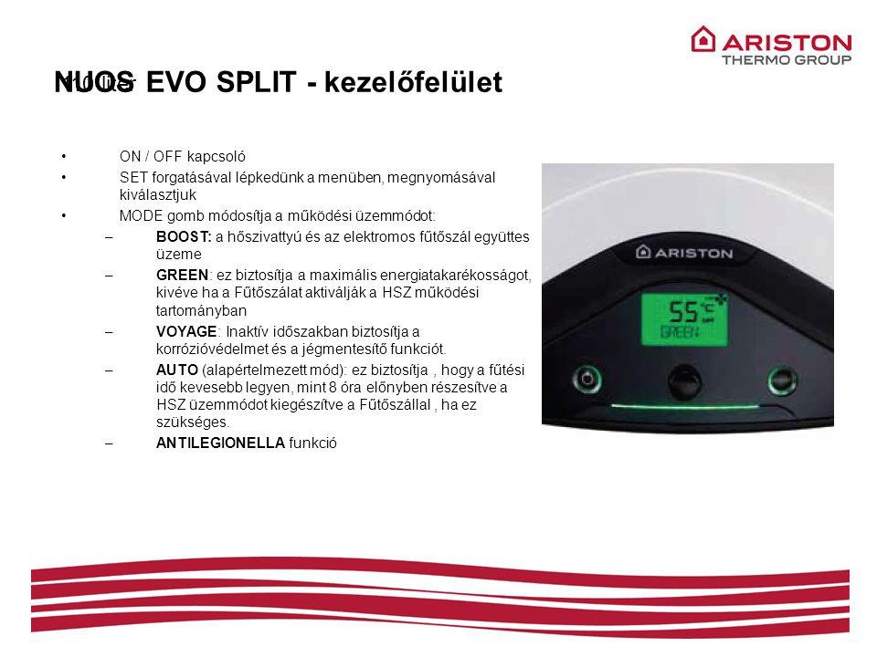 NUOS EVO SPLIT - kezelőfelület