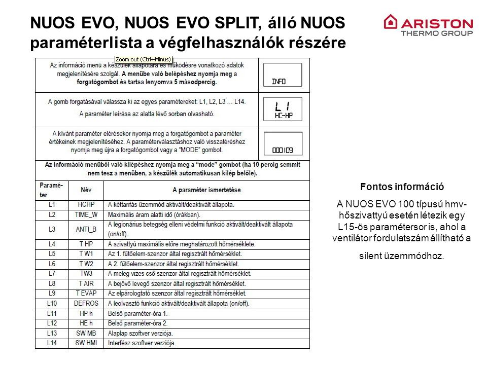 NUOS EVO, NUOS EVO SPLIT, álló NUOS paraméterlista a végfelhasználók részére