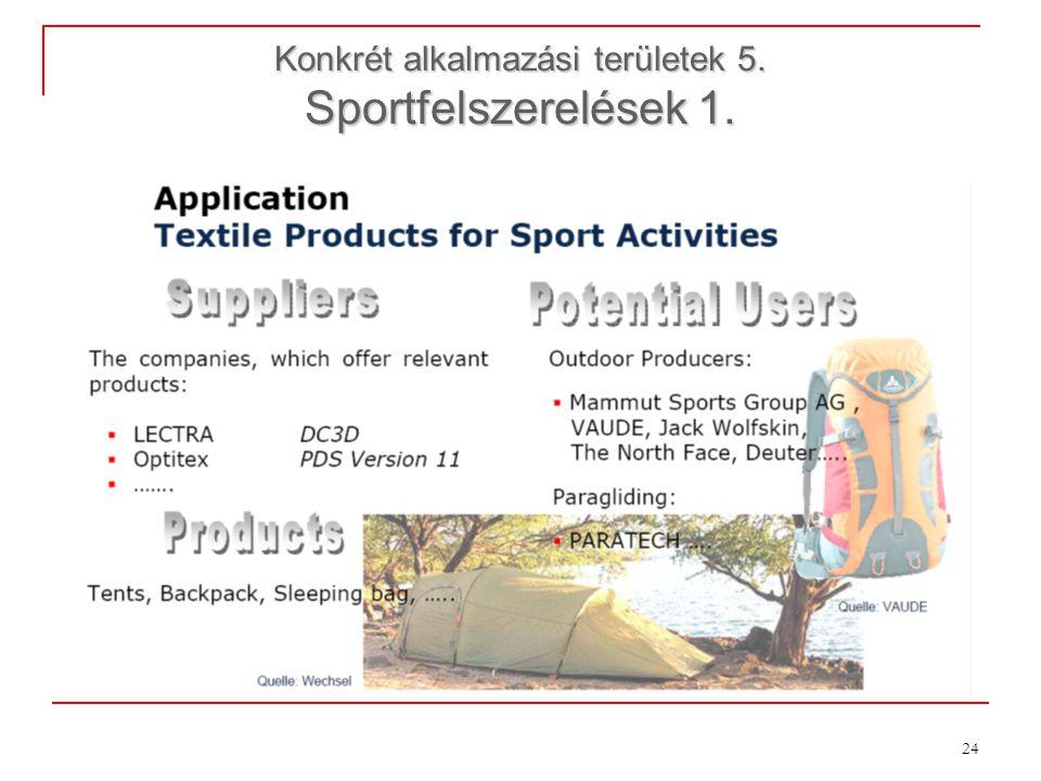 Konkrét alkalmazási területek 5. Sportfelszerelések 1.