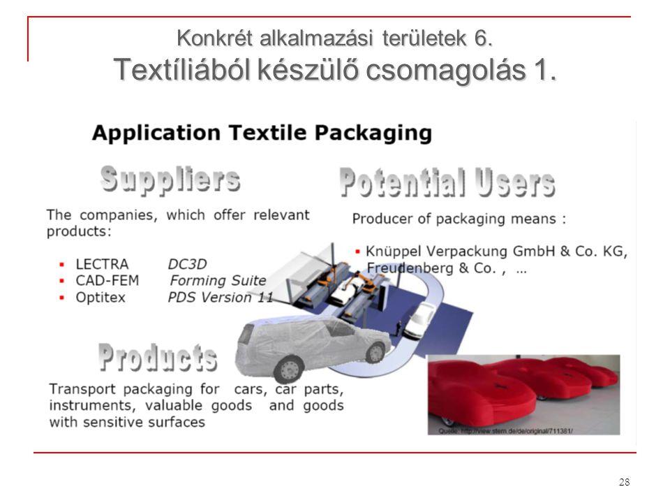 Konkrét alkalmazási területek 6. Textíliából készülő csomagolás 1.