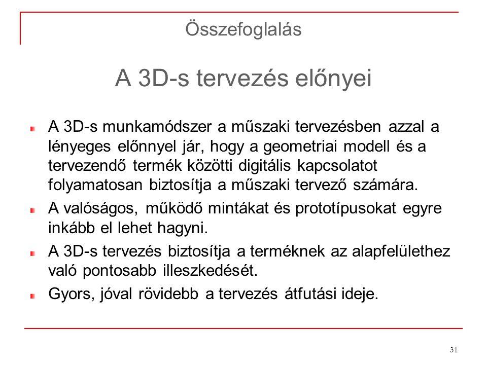 Összefoglalás A 3D-s tervezés előnyei