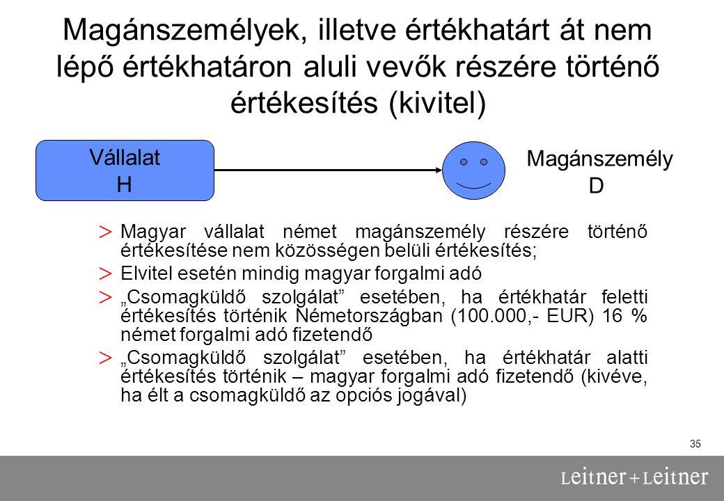 Magánszemélyek, illetve értékhatárt át nem lépő értékhatáron aluli vevők részére történő értékesítés (kivitel)