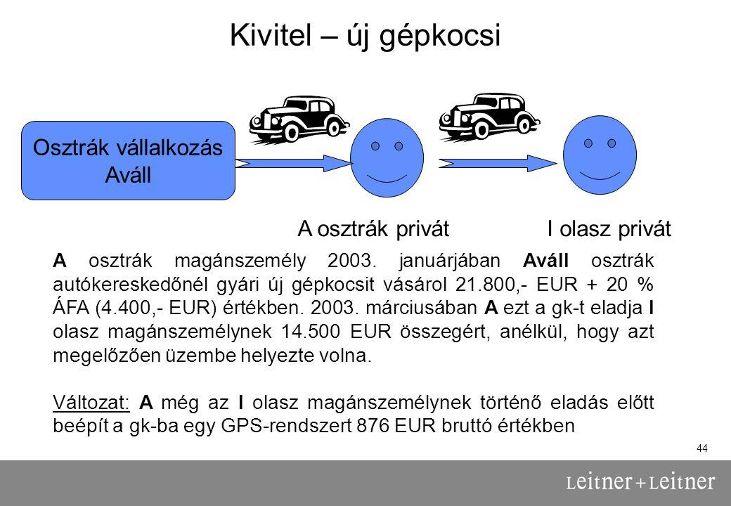 Kivitel – új gépkocsi Osztrák vállalkozás Aváll A osztrák privát