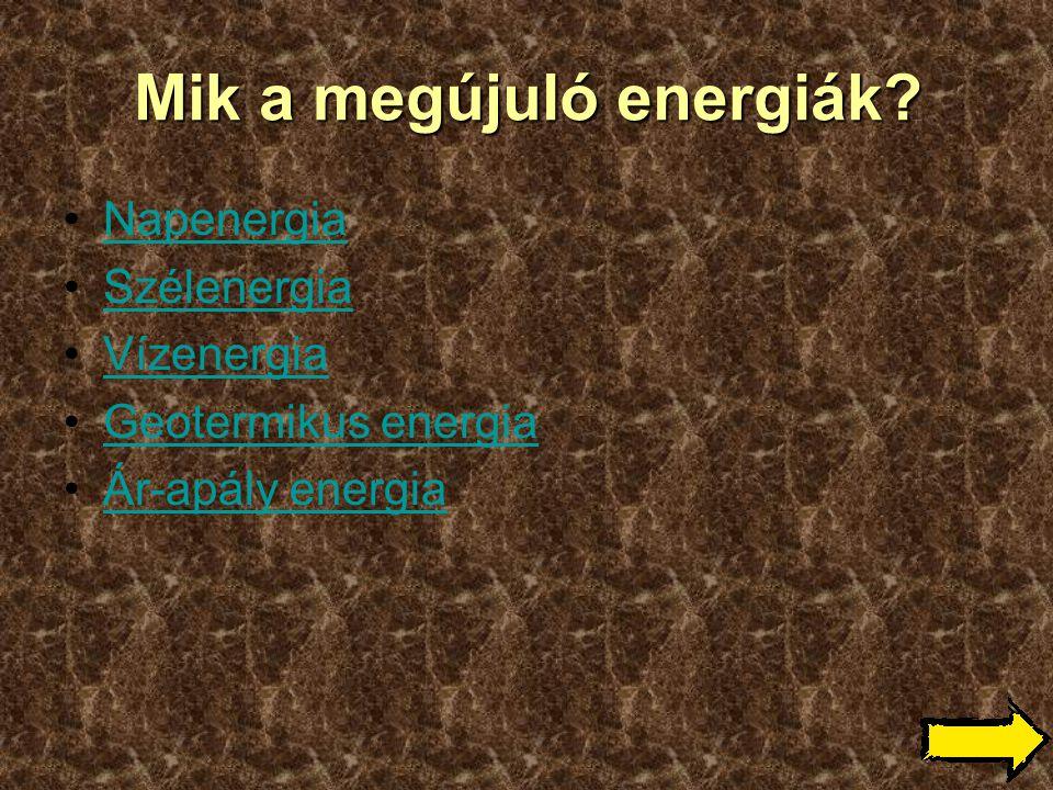 Mik a megújuló energiák