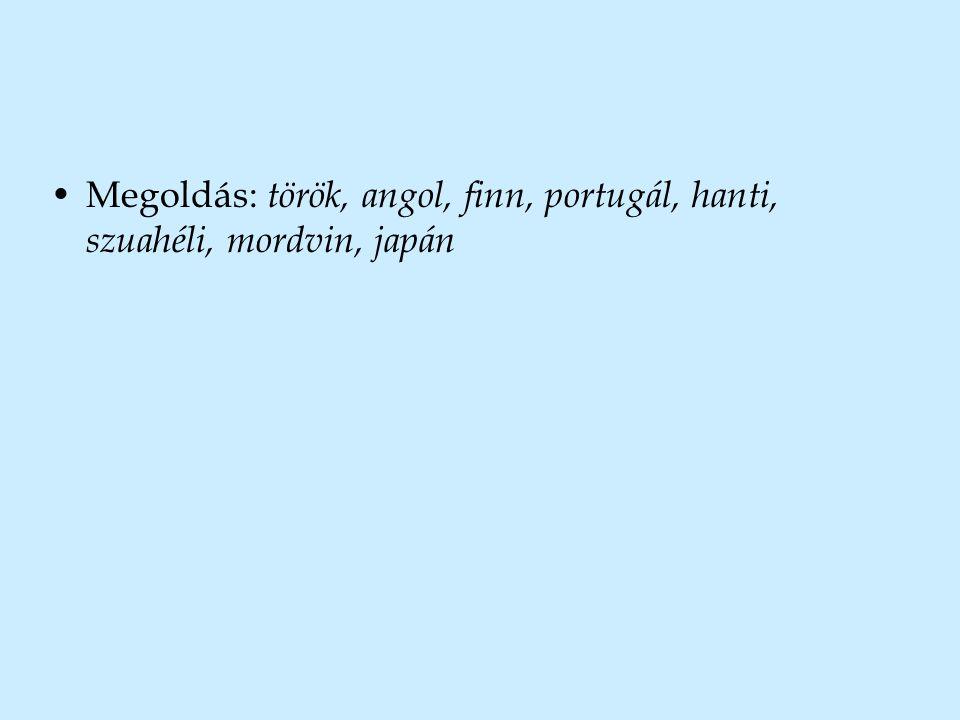 Megoldás: török, angol, finn, portugál, hanti, szuahéli, mordvin, japán
