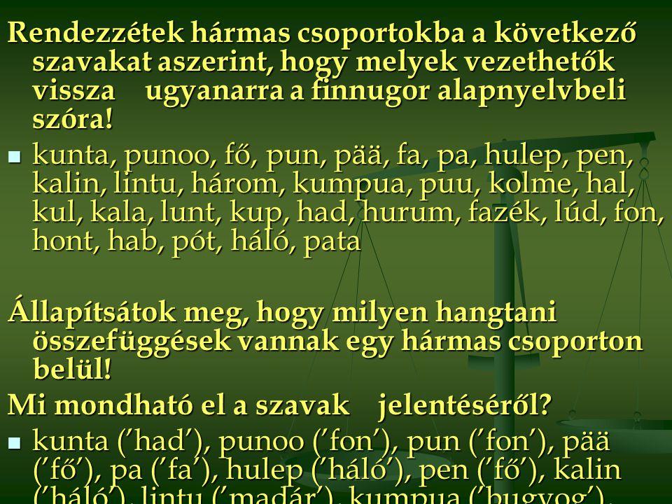 Rendezzétek hármas csoportokba a következő szavakat aszerint, hogy melyek vezethetők vissza ugyanarra a finnugor alapnyelvbeli szóra!