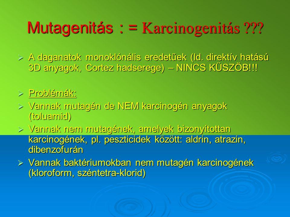 Mutagenitás : = Karcinogenitás