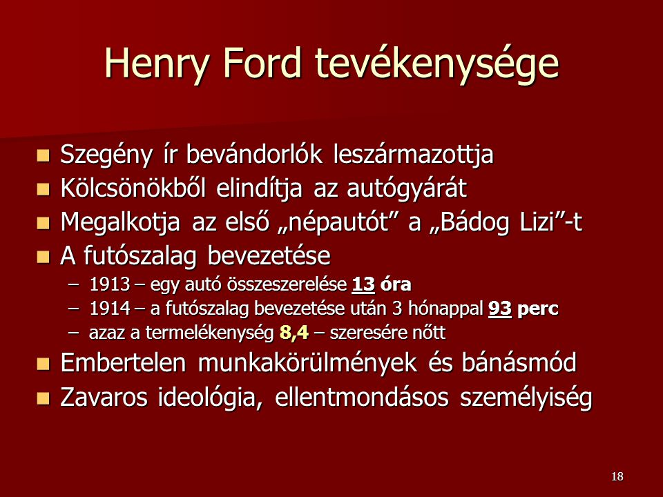 Henry Ford tevékenysége