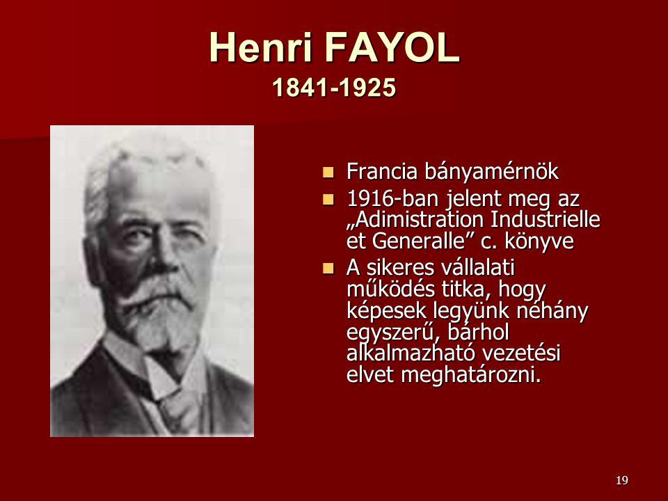 Henri FAYOL 1841-1925 Francia bányamérnök