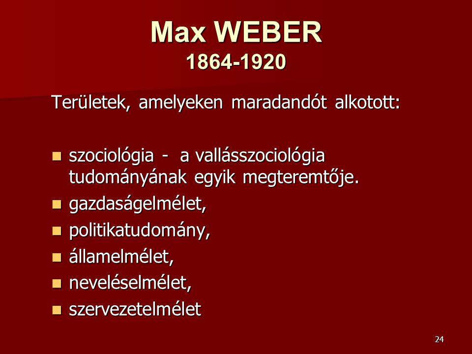 Max WEBER 1864-1920 Területek, amelyeken maradandót alkotott: