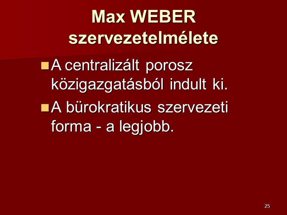Max WEBER szervezetelmélete