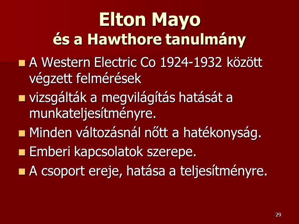 Elton Mayo és a Hawthore tanulmány