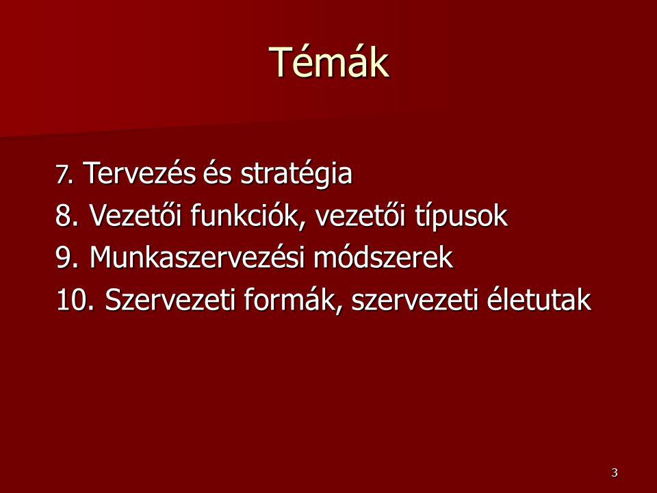 Témák 8. Vezetői funkciók, vezetői típusok