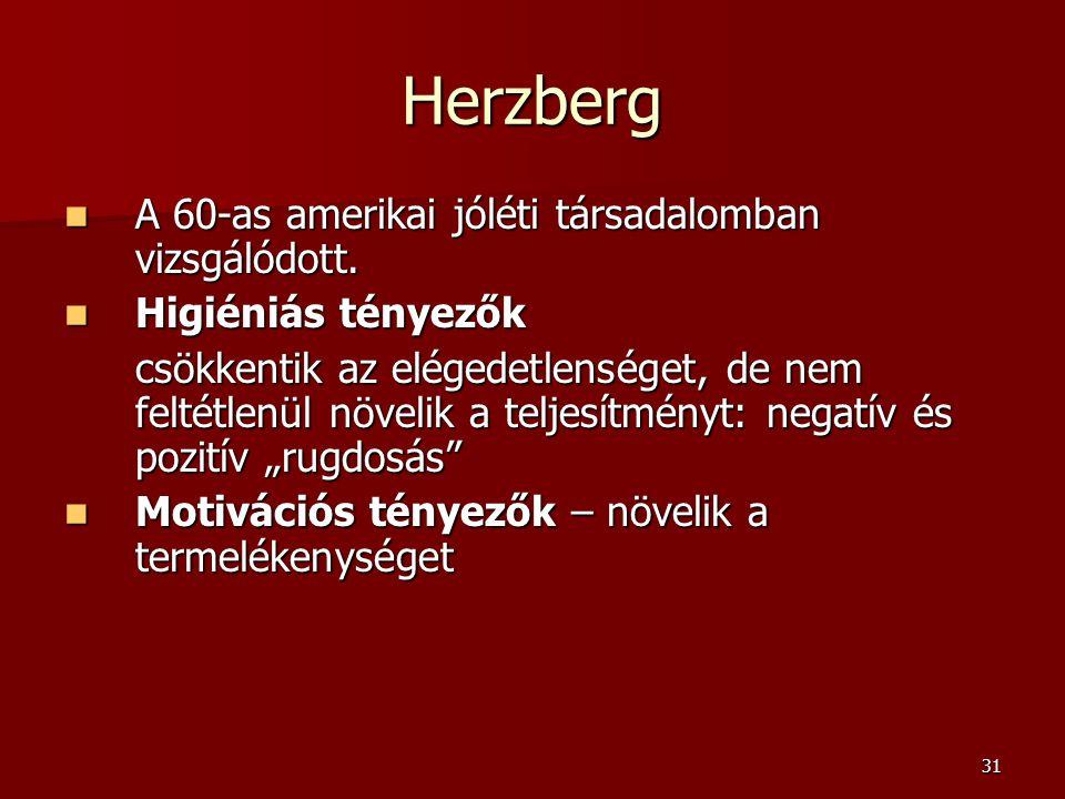 Herzberg A 60-as amerikai jóléti társadalomban vizsgálódott.