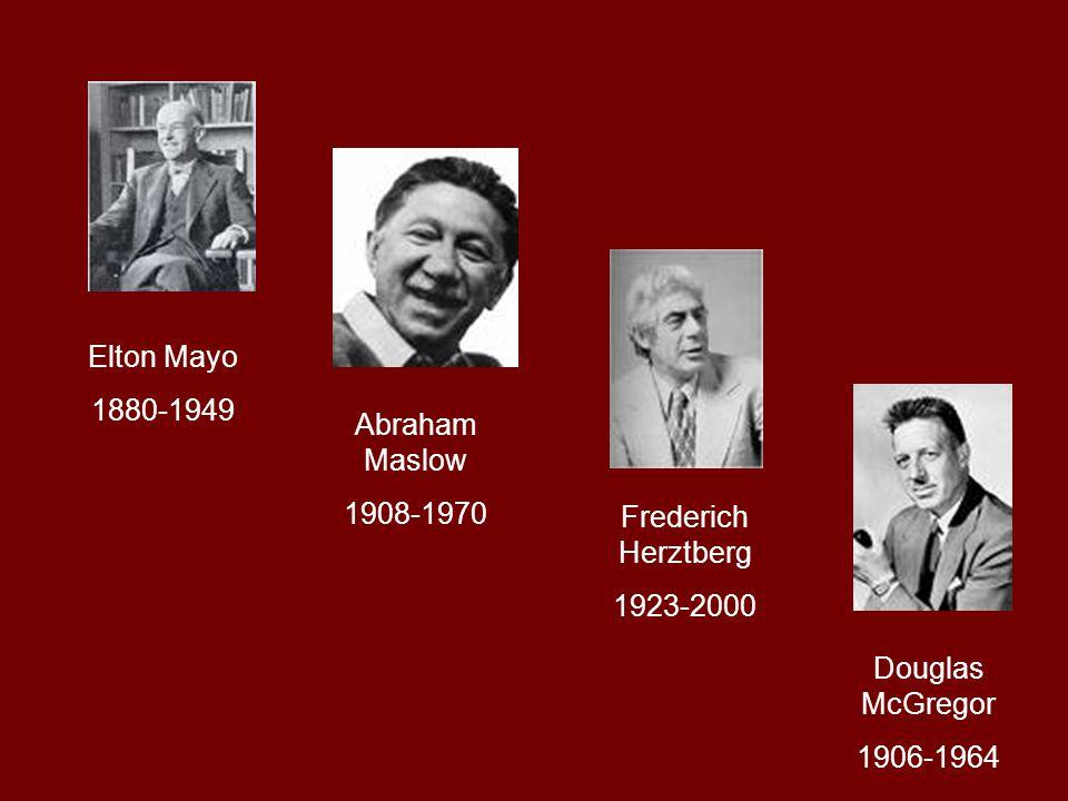 Elton Mayo 1880-1949. Abraham Maslow. 1908-1970. Frederich Herztberg. 1923-2000. Douglas McGregor.
