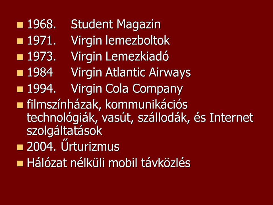 1968. Student Magazin 1971. Virgin lemezboltok. 1973. Virgin Lemezkiadó. 1984 Virgin Atlantic Airways.