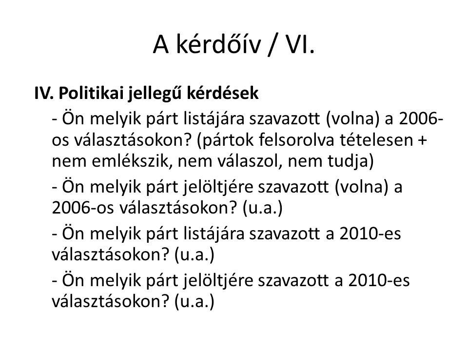 A kérdőív / VI.