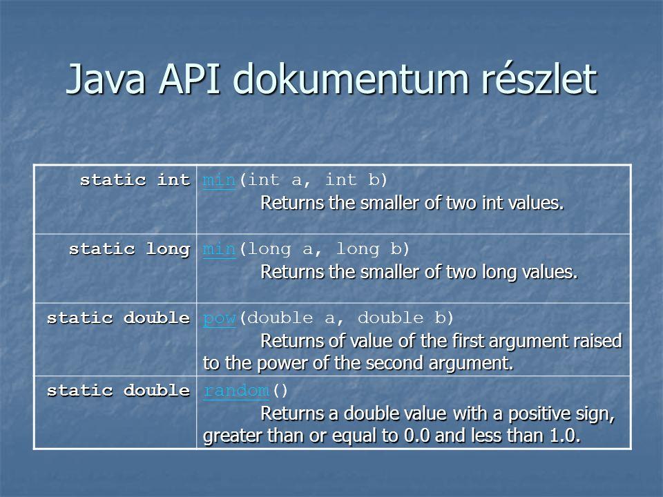 Java API dokumentum részlet