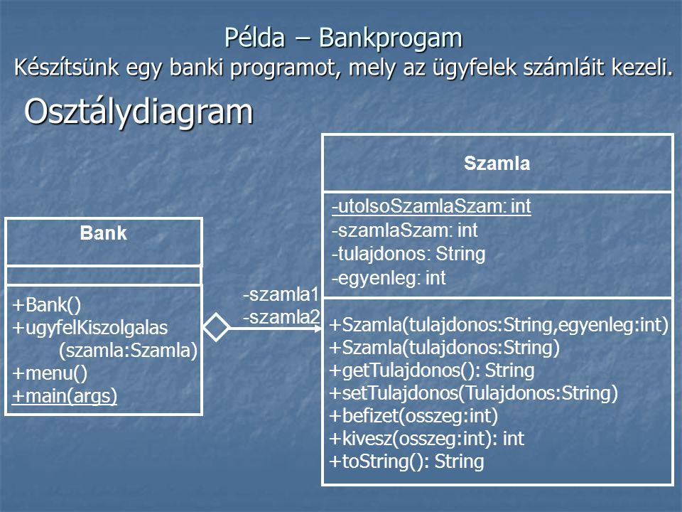 Készítsünk egy banki programot, mely az ügyfelek számláit kezeli.