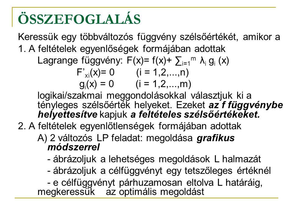 ÖSSZEFOGLALÁS Keressük egy többváltozós függvény szélsőértékét, amikor a. 1. A feltételek egyenlőségek formájában adottak.