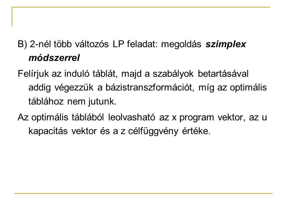 B) 2-nél több változós LP feladat: megoldás szimplex módszerrel