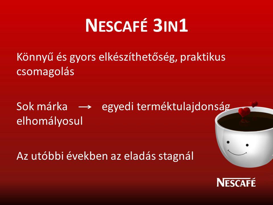 Nescafé 3in1 Könnyű és gyors elkészíthetőség, praktikus csomagolás