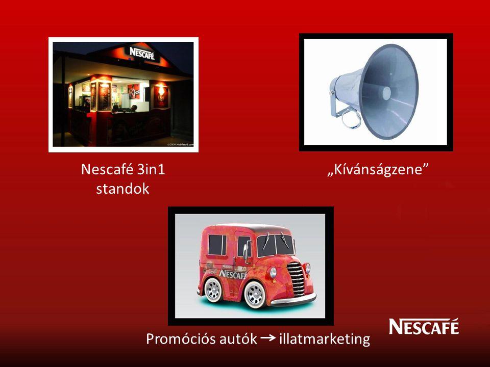 "Nescafé 3in1 standok ""Kívánságzene Promóciós autók illatmarketing"