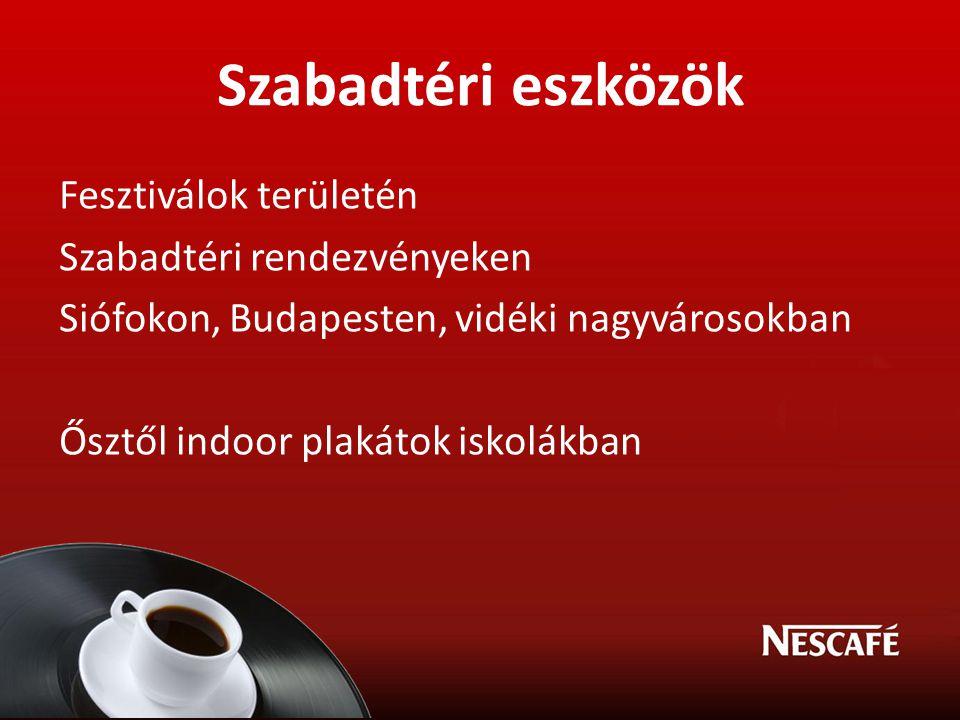 Szabadtéri eszközök Fesztiválok területén Szabadtéri rendezvényeken Siófokon, Budapesten, vidéki nagyvárosokban Ősztől indoor plakátok iskolákban