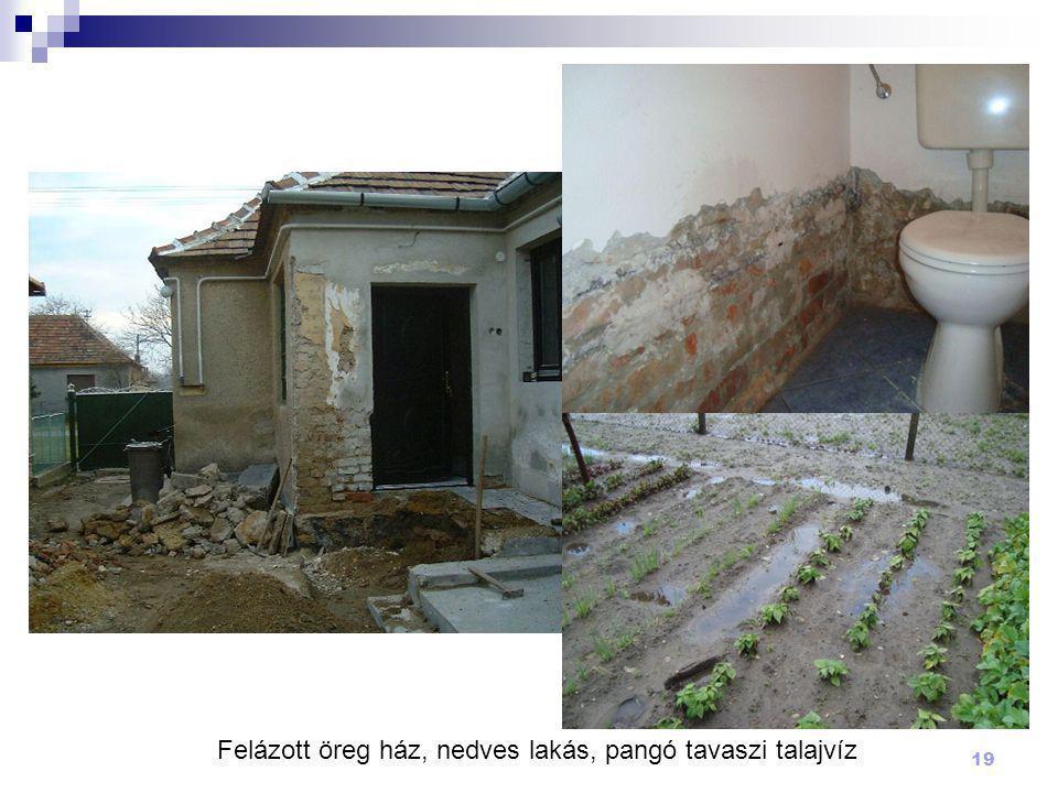 Felázott öreg ház, nedves lakás, pangó tavaszi talajvíz