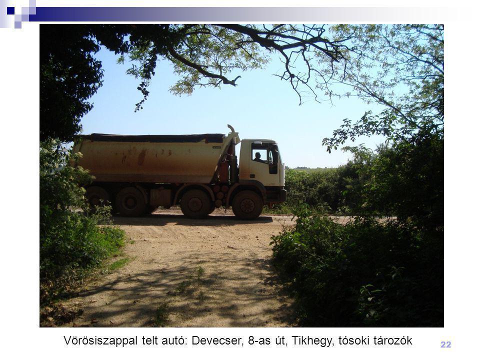 Vörösiszappal telt autó: Devecser, 8-as út, Tikhegy, tósoki tározók