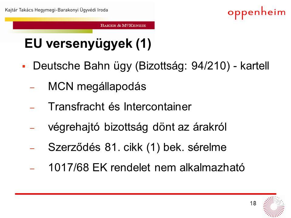 EU versenyügyek (1) Deutsche Bahn ügy (Bizottság: 94/210) - kartell