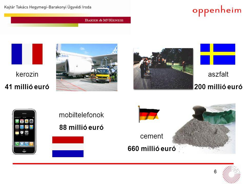 kerozin 41 millió euró aszfalt 200 millió euró mobiltelefonok 88 millió euró cement 660 millió euró